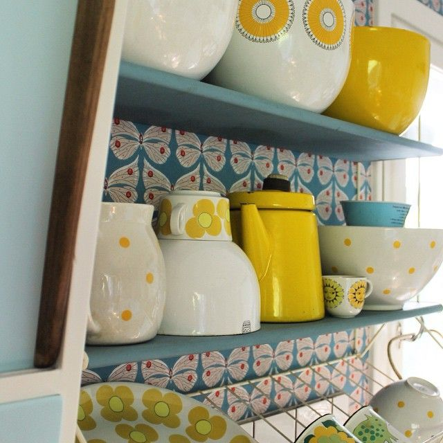 Yellow and turquoise Finnish kitchen