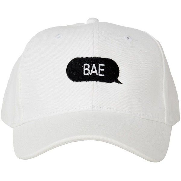 """Bae"" White Hat ($32) ❤ liked on Polyvore featuring accessories, hats, caps, white hat, cap hats and white cap"