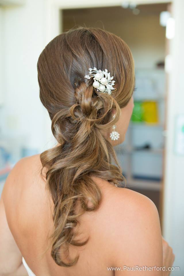 side wedding hairstyles : hairstyles side curls curl long hair side swept flower crown wedding ...