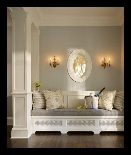 soft grey... gorgeousDecor, Wall Colors, Ideas, Benches, Built In, Windows Seats, Reading Nooks, Painting Colors, Window Seats