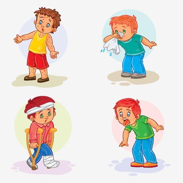 مجموعة أيقونات طفل صغير مريض مريض حمى شاب Png والمتجهات للتحميل مجانا Kids Vector Cute Little Boys Boys