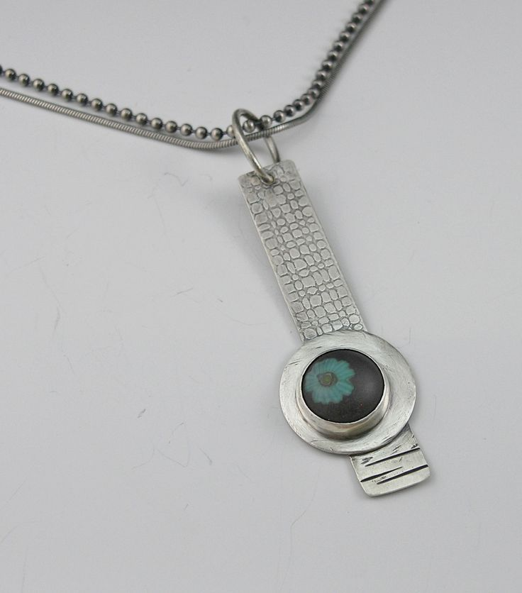 Mikelene's Jewelry ... Roll printed sterling silver pendant with one of my mini glass cabochons found in Growing Edge Glass on etsy...sold