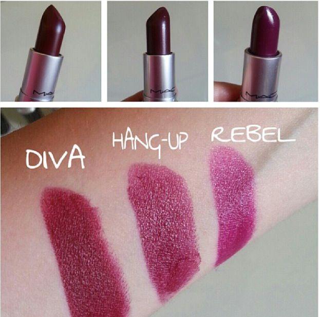 Mac Lipstick - Diva, Hang-up, Rebel