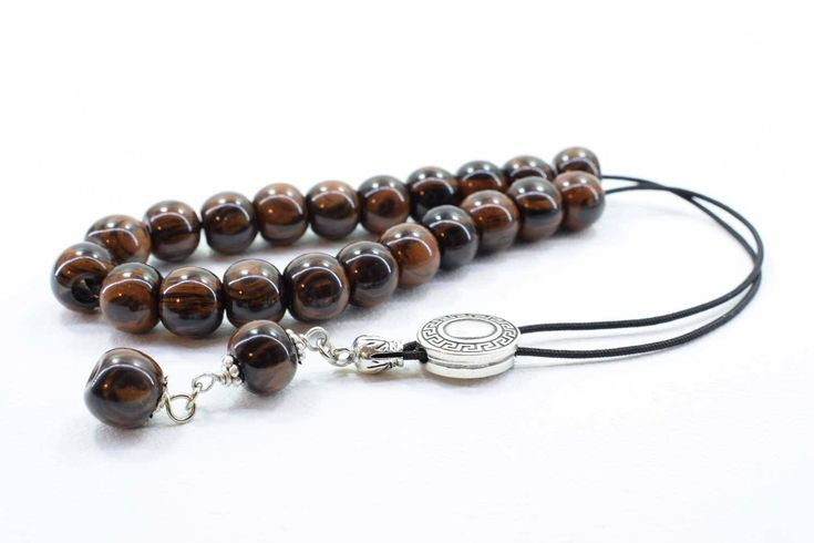 Brown - Black Obsidian Komboloi, Worry Beads, Greek Komboloi, Obsidian, Stress Relief, Gift for Him, Made in Greece, Tesbih, Father's Gift