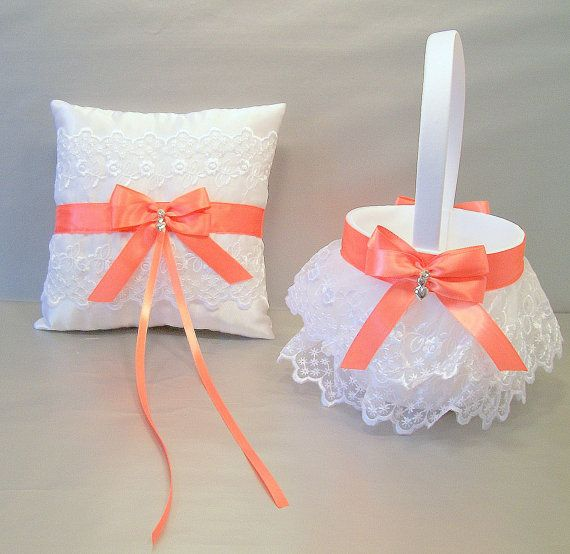 Coral Wedding Bridal Flower Girl Basket and Ring Bearer Pillow Set on Ivory or White Double Loop Bow, Hearts Charm, & Rhinestone Bead...Is it weird to have a little boy carry a pillow down the aisle?