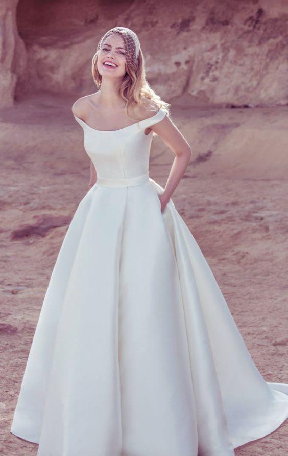 The 25 best unique wedding dress ideas on pinterest for Off the shoulder satin wedding dress