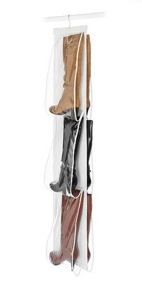 Use hanging boot and bag racks to save space and storage room. | 53 Seriously Life-Changing Clothing Organization Tips