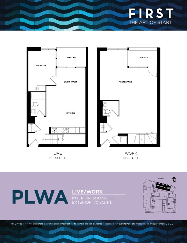 Podium Live/Work Plan A - Interior 1230 SQ FT - Exterior 70 SQ FT