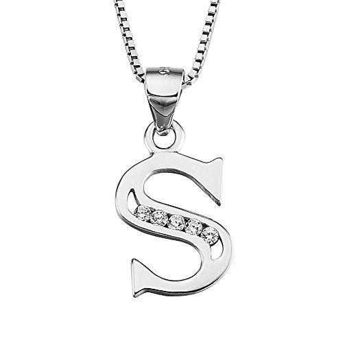 S925 Sterling Silver Cubic Zirconia 26 Letters Alphabet Personalized Charm Pendant Necklace (Alphabet S)