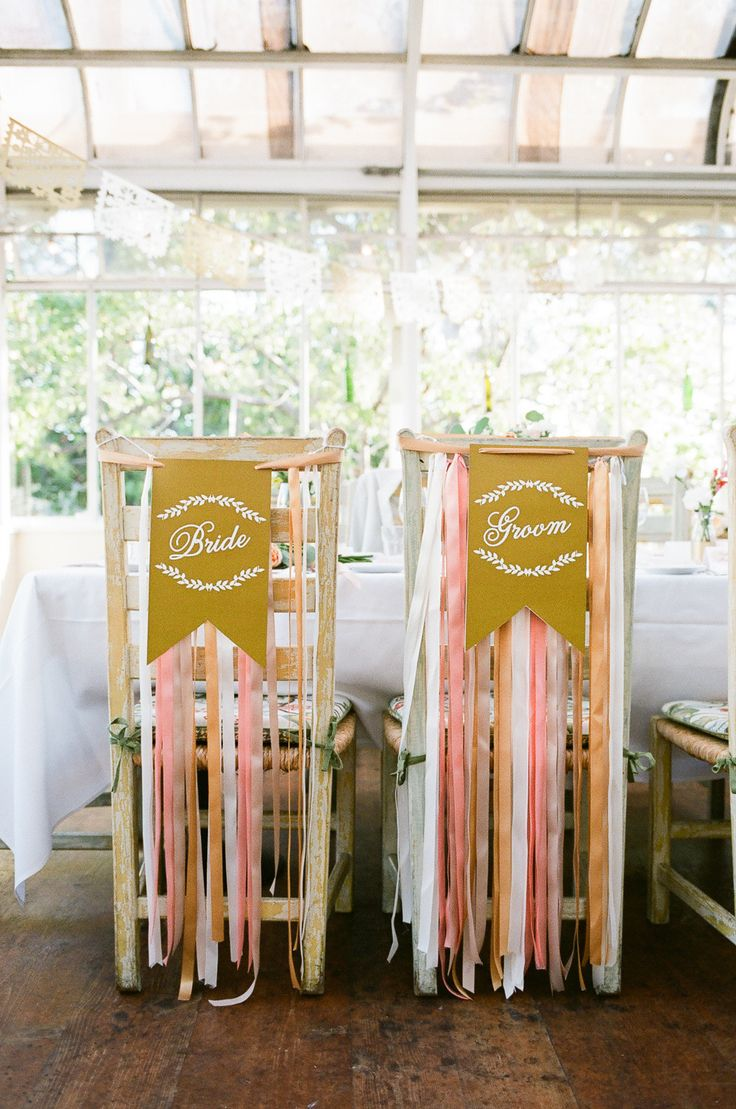 #chair-decor, #ribbon, #chair  Photography: Nicole Wasko - www.nicolewasko.com  Read More: http://www.stylemepretty.com/2014/11/03/pink-and-gold-summer-greenhouse-wedding/