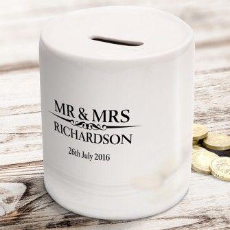Heritage Wedding Mr and Mrs Personalised Money Box