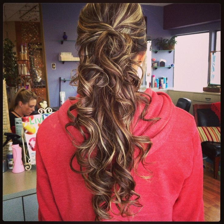 Hair by Hannah Rees! A beautiful brunette with blonde highlights! Half up and half down prom up do!
