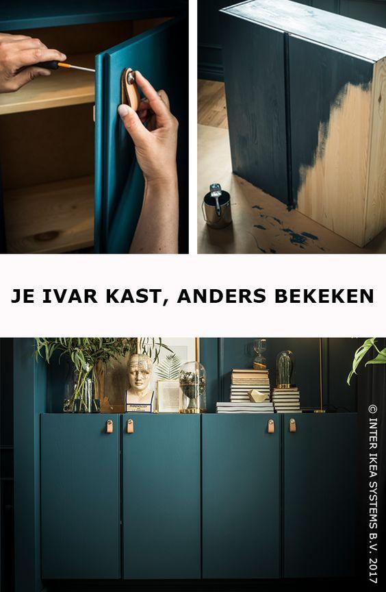 Wil je je IVAR kasten in een nieuw jasje steken? Verf ze in dezelfde kleur als je muren voor een naadloze, eenvoudige look en voeg er een leuke toets aan doe met leren handvaten. ÖSTERNÄS Leren handgreep, 9,99/2 st. #IKEABE #IKEAidee Do you want to give your IVAR cabinets a refresh? Paint them in the same color as the walls for a seamless, uncluttered look and give them a nice touch with some leather handles. ÖSTERNÄS Leather handles, 9,99/2 pcs. #IKEABE #IKEAidea