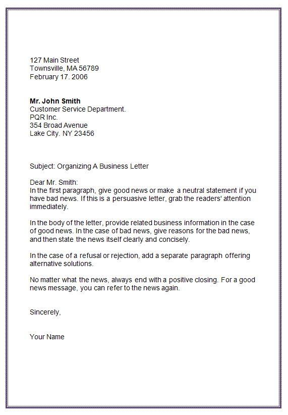 Letter Formats Mla Business Letter Format Template