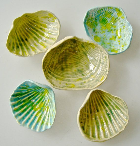 Ceramic seashell instant collection beach decor wedding - Turquoise and lime green decor ...