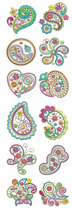 Paisley Embroidery by marian.  I am painting paisley on a birdhouse - using just two colors.  These designs will help.