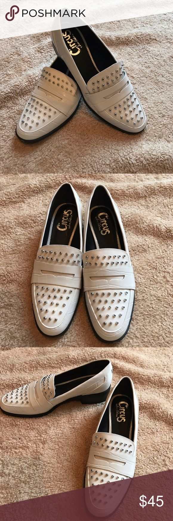 -Circus By Sam Edelman  White Studded Loafer NWOT Brand new never worn Stand out out in these sweet shoes!  Very attractive studded white textured, Circus by Sam Edelman Shoes Flats & Loafers