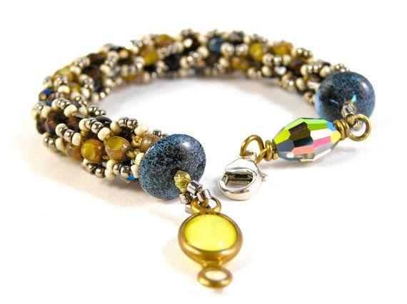 Jennifer's Bracelet - Beaded, Crocheted - Swarovski Crystal, Vintage, Glass Beads, & Sterling Silver - Mustard, Brown, Navy - One Of A Kind!!!  by knitbeadlove