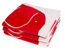 Elefantti-velourkylpypyyhe 16,80 e (norm. 28,00) punaisena ihanan näköinen pyyhe