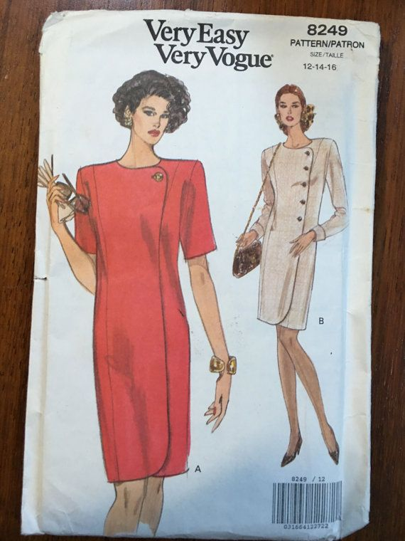 Vogue Pattern UNCUT Asymmetrical Dress Pattern Vogue 8249 Size 12-14-16 Fitted Tapered Princess Seam Dress Vintage 90s Sewing Pattern 1980s shoulder pads, power dressing,  Etsy weseatree patterns 1980s