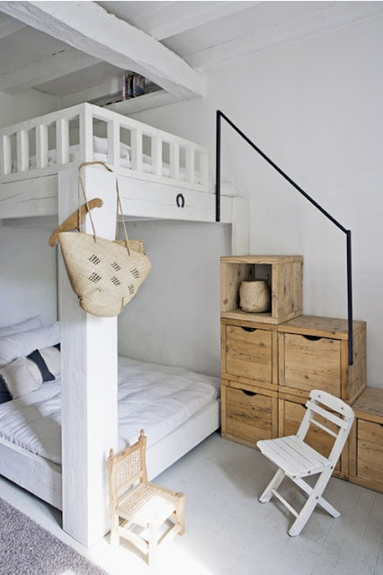 white loft bed with shelf stairs