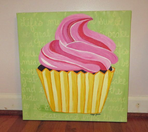 18 X 18 Acrylic Cupcake Painting by WorkOfMorgan on Etsy, $60.00