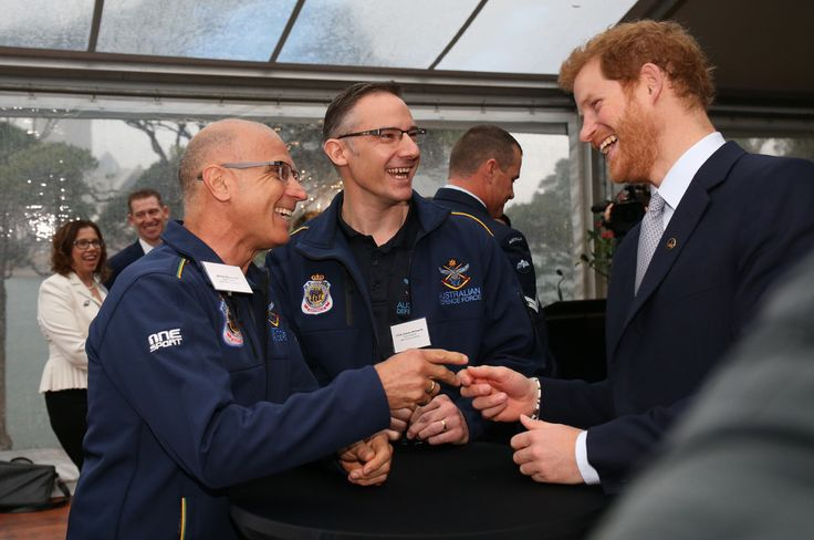 Prince Harry talks with Australian Defence Force members during a function at Admiralty House on June 7, 2017 in Sydney, Australia.