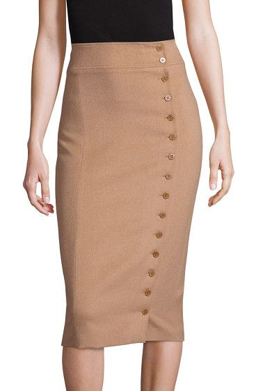 Camel-hair button-front pencil skirt by Polo Ralph Lauren. Buttons run down the front left of this luxe pencil skirt, defining its modern take on a chic classic. Banded waistBu...