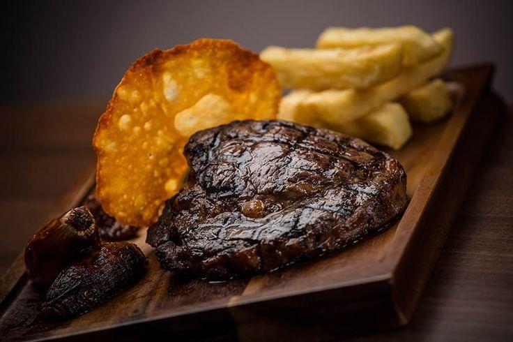 Steak, mushrooms and chips at The Enniskillen Hotel, Fermanagh, Ireland.