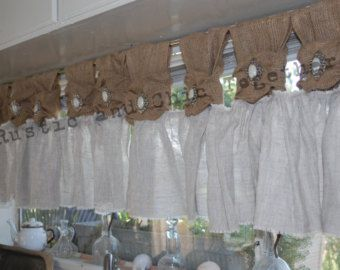 Burlap Valance - Burlap tabs 35W x 18L  Rich Beautiful Vibrant Burlap. With these beautiful curtains your windows have never looked better! These are a perfect valance addition for your window.  Details: Price is for 1 valance panel with 5 loops . 35 across by length of your choice, length includes loops . All finished are made with serger (overlock) to prevent any fraying.  Not sure how many do you need? If your rod is wider e.g: 70 W choose 2 panels of 35W  You can also ask me when you do…