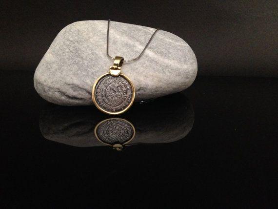 Phaistos disc golden silver pendant greek by ThetisTreasures