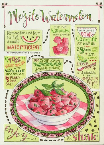 Everyday Artist: Illustrated Recipe: Mojito Watermelon