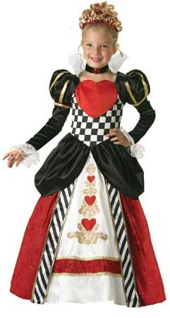 Packaged in garment bag Full length gown with printed heart details and gold trim, tulle petticoat, velvet jeweled choker and sequined heart tiara. Packaged in a kid-size zippered garment bag with col