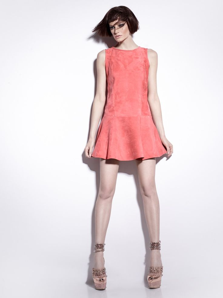 #Manokhi light pink suede leather dress