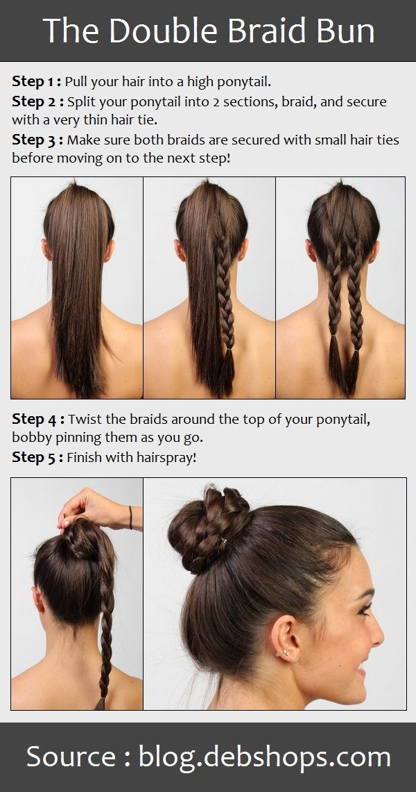 I'm thinking this probably works better with thick long hair for those who have tried to do a reg braided bun and have found that one tight braid made a very thin and wimpy braid bun, especially when making it a high bun on top of the head. Will have to try the double braid for a real robust bun!   The Double Braid Bun | PinTutorials