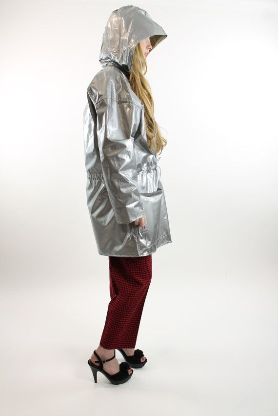 Vintage 80's 90's Raincoat Rain Slicker Reversible Silver Gold for sale at ScarletFury, $72.00, https://www.etsy.com/listing/179778902/80s-90s-raincoat-rain-slicker-coat?ref=shop_home_active_1 Women's spring outerwear fashion
