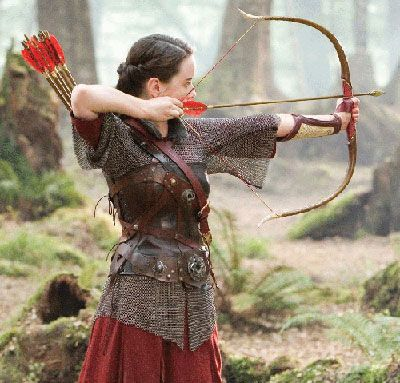 Susan getting ready to shoot her bow in a scene from one of the Narnia movies. Not sure which one, though.