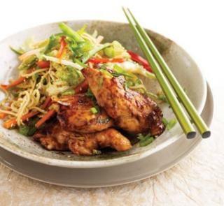 Sticky hoisin chicken with sesame noodle coleslaw via https://pinterest.com/hfguidenz/