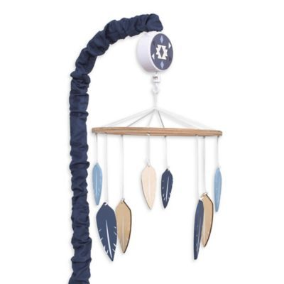 Give your baby's nursery Southwestern flair with the Be Brave Musical Mobile from carter's. Soft feathers in shades of indigo, sky blue and tan spin to the sounds of Brahms' Lullaby under a rustic wood canopy to soothe your little adventurer to sleep.