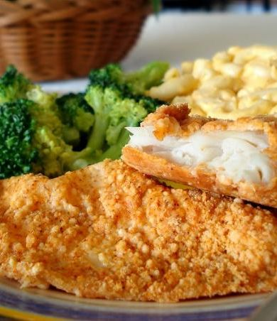 This Baked Parmesan Fish recipe is a healthy way to make fish! Can use Panko crumbs instead of flour.