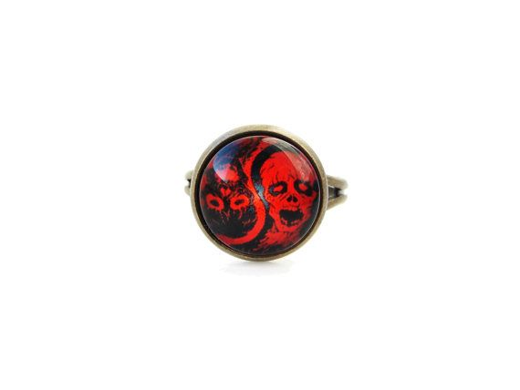Zombie - adjustable ring, yin yang theme, 12mm glass dome photo image cabochon, bezel ring, statement ring, gothic ring, red and black