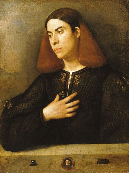 Giorgione (Giorgio Barbarelli da Castelfranco) ~ Portrait of a Young Man, c.1510.  Art Experience NYC  www.artexperiencenyc.com/social_login/?utm_source=pinterest_medium=pins_content=pinterest_pins_campaign=pinterest_initial