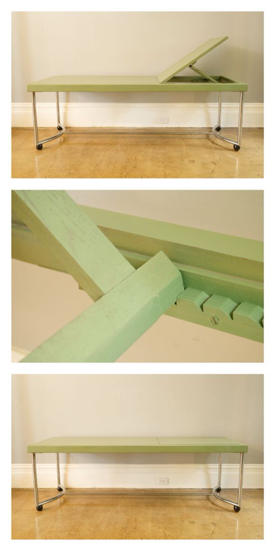 French modernist table, original green top and metal tubular legs. 189cm x 60cm x 60cm. c.1920.