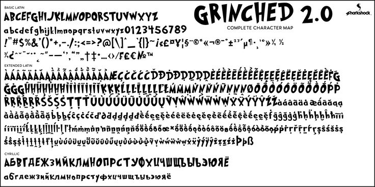 """Complete character map for Grinched 2.0. This is lettering inspired by the famous Dr. Seuss book """"How the Grinch stoles Christmas"""". European accents and Cyrillic characters for Russian are included. The free demo is available for personal use only. Please contact us for commercial licensing.  #fonts #font #typography #sharkshock #Seuss #Grinch #Christmas #Cyrillic #Greek #русский #кириллица #шрифт"""