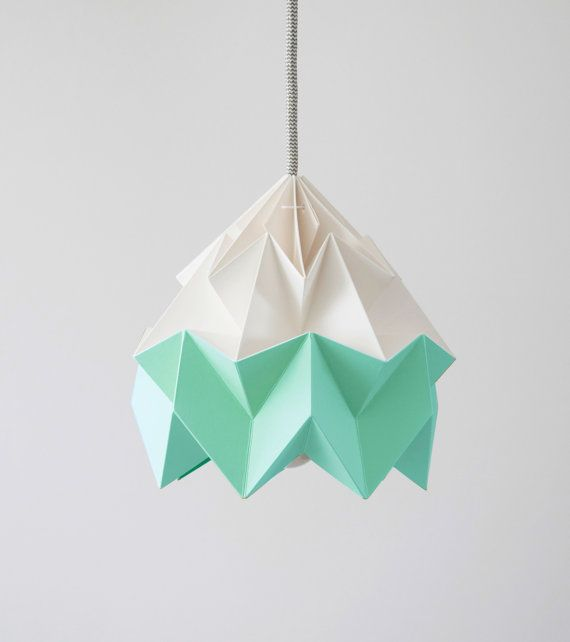 Moth origami lampshade Ice Mint green and white by nellianna, €69.00