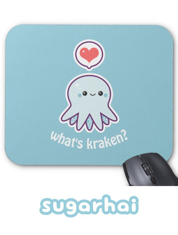 """Kawaii octopus pun mousepads, you can keep the saying """"What's kraken?"""" or replace it with your own text."""