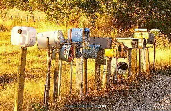 Row of rural mailboxes, Glenlyon district, Victoria