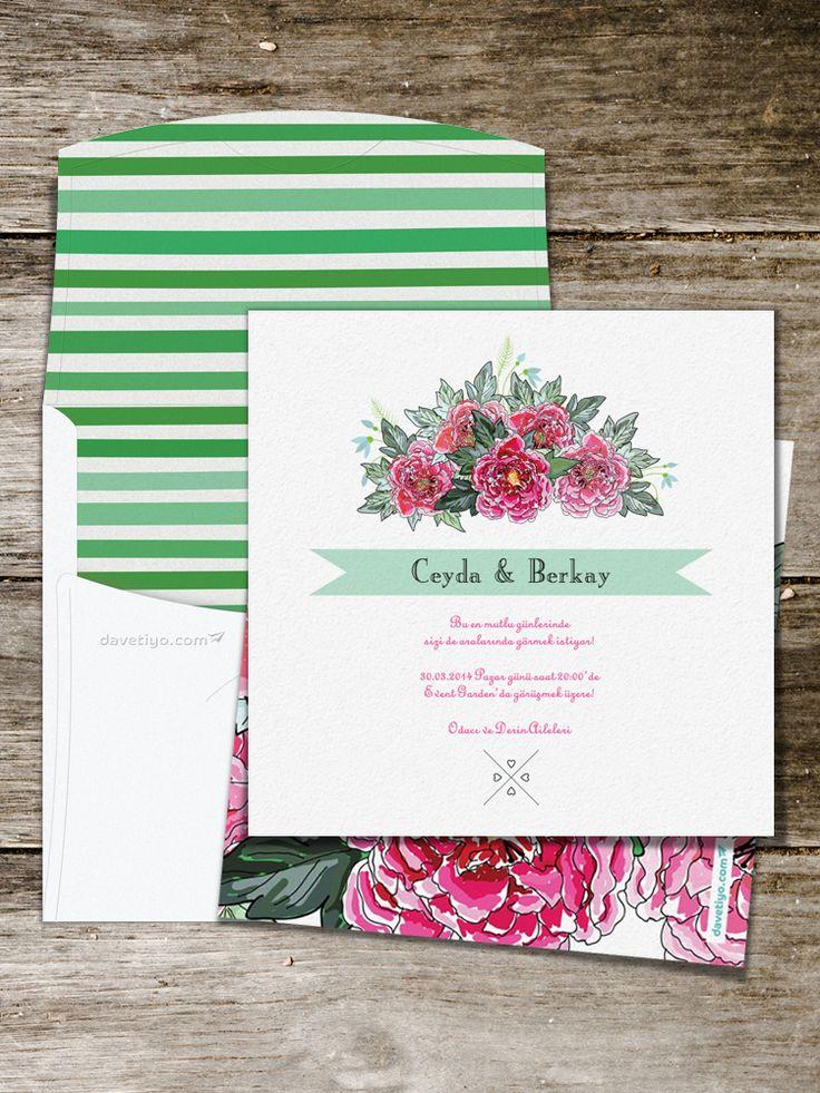 Harika bir düğünün müjdecisi olan bu düğün davetiyesini seçerek sevdiklerinize koca bir buket göndermiş gibi olacaksınız! Özellikle kır düğünleri için tasarlanmış olsa da, düğün konseptinizde kırmızı çiçekler kullandığınız sürece kare formlu bu davetiyeyi her tip düğün için kullanabilirsiniz.