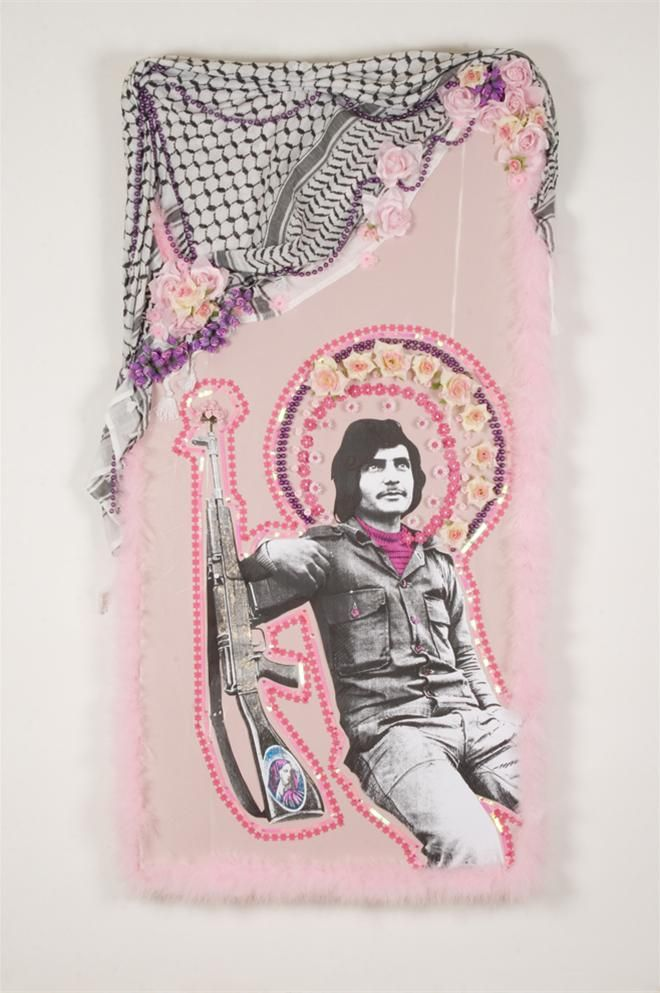 Zena el khalil, In The Name Of The Father, The Son, And The Holy Gun, mixed media 130x70 cm