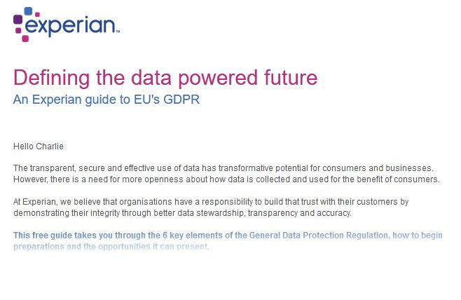 Just waiting to receive something like this from #Equifax so that I can have a proper laugh! Seems like everyone has jumped on the #GDPR bandwagon; received emails from Experian, RoyalMail and numerous others today!